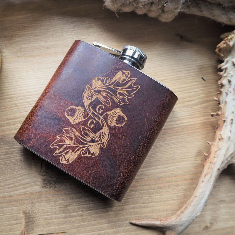 The Acorn & Leaf Monogram Hip Flask-New In - Hip Flask-HÔRD