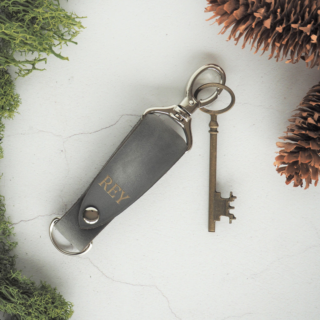 The Skor Key Fob in soft grey leather and silver hardware, by hord