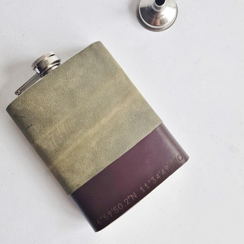Hip Flask - The Coordinates Leather Flask