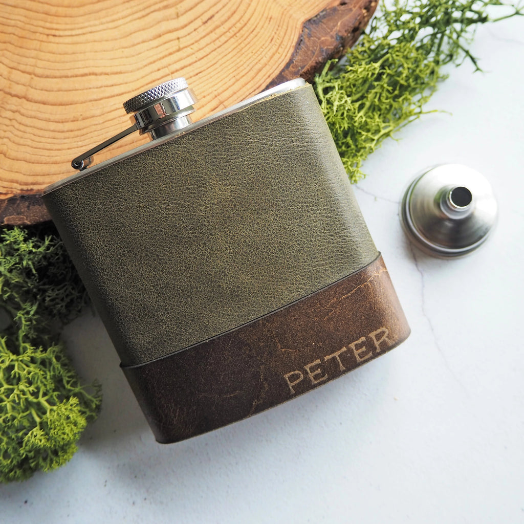 The Moss Leather Flask-Hip Flask-HÔRD