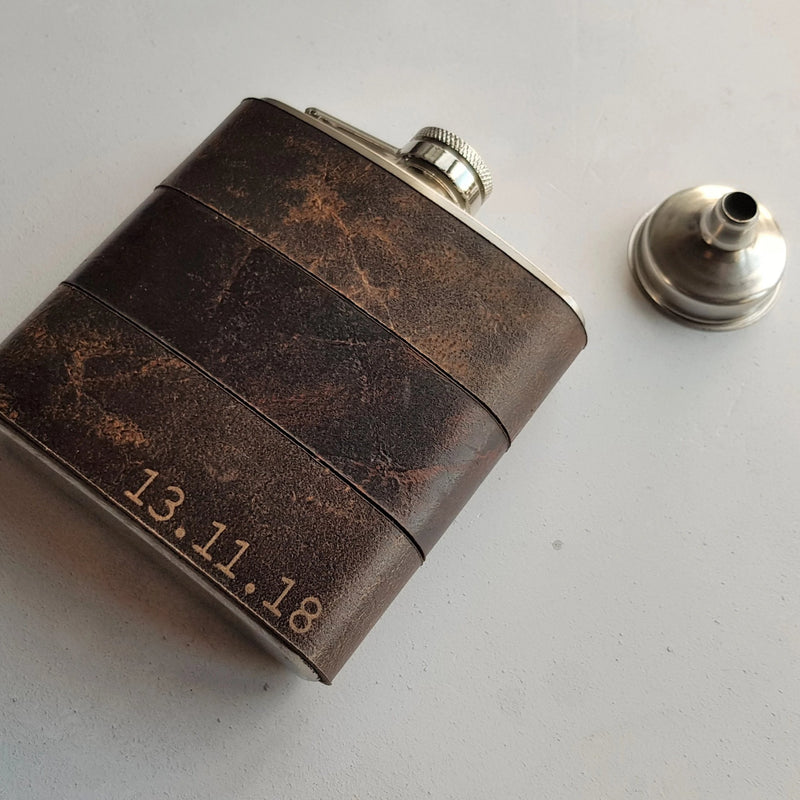 The Oak and Peat Leather Flask-Hip Flask-HÔRD