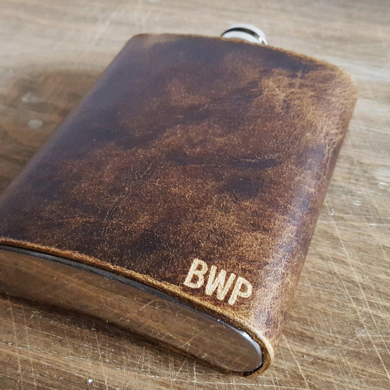 Personalised Leather Hip Flask-Hip Flask-HÔRD