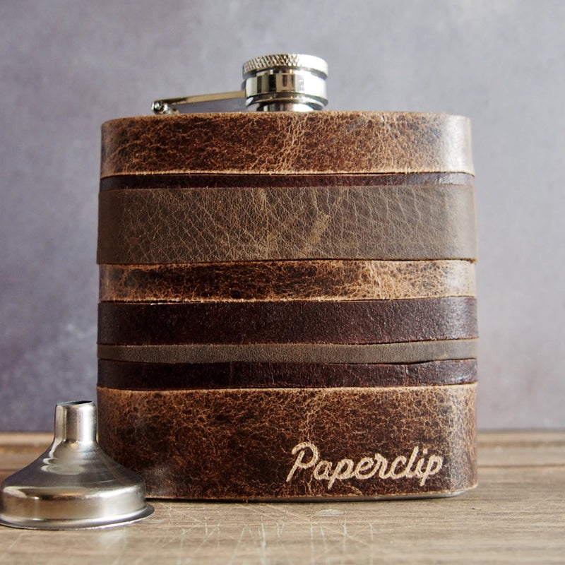 The Oak Layers Leather Flask-Hip Flask-HÔRD
