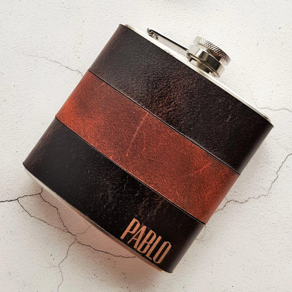 The Peat and Rust Leather Flask-Hip Flask-HÔRD
