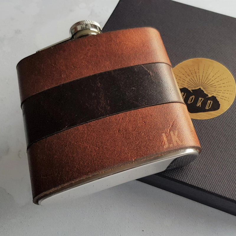 The Rust and Peat Leather Flask-Hip Flask-HÔRD