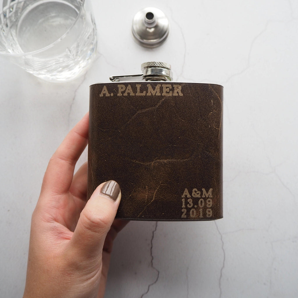 The Wedding Leather Flask-Hip Flask-HÔRD