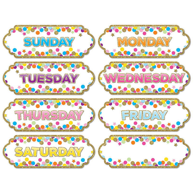 Magnetic Die-Cut Timesavers & Labels, Confetti Days Of The Week - Item 4SS-ASH19006