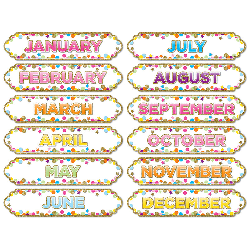 Magnetic Die-Cut Timesavers & Labels, Confetti Months Of The Year - Item 4SS-ASH19008
