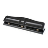 3-Hole Paper Punch, Adjustable Holes, 12 Sheet Capacity, Black - Item 4SS-CHL033