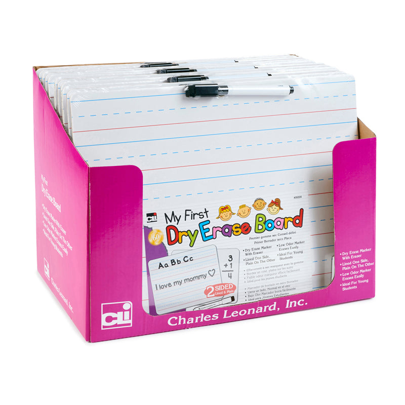 """My First"" Dry Erase Board With Marker/Eraser, Two-Sided Plain/Lined, White, Pack Of 12 - Item 4SS-CHL35220ST"