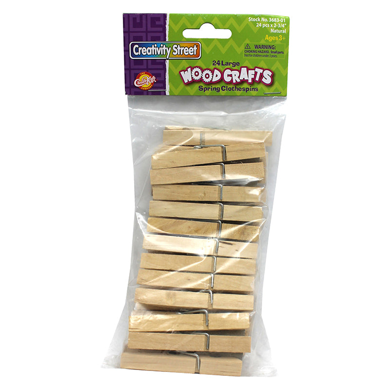 Large Spring Clothespins, Natural, 24 Per Pack, 12 Packs - Item 4SS-CK-368301BN