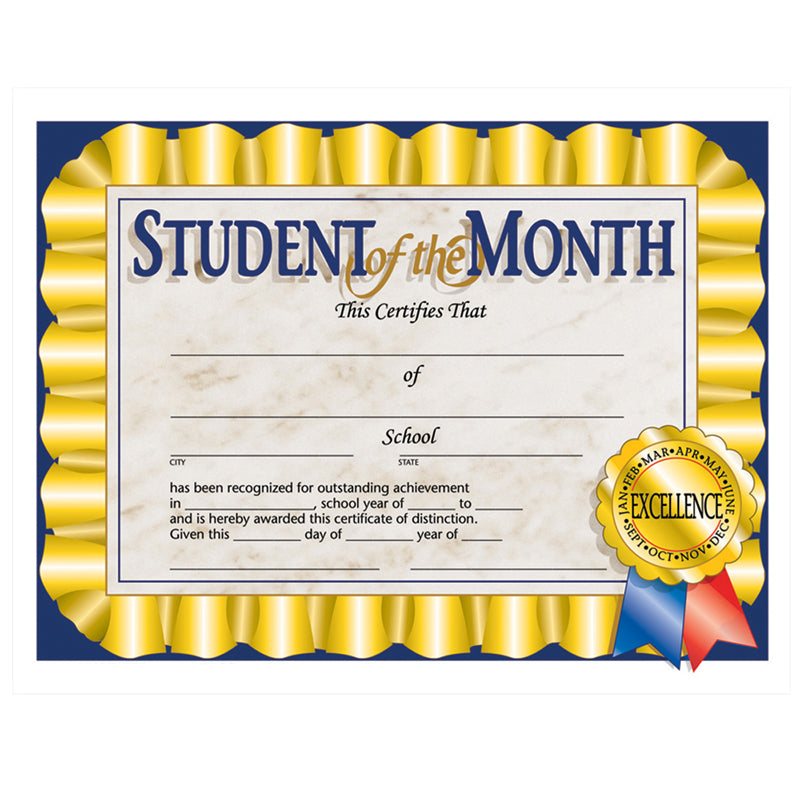 "Student Of The Month Certificate, 8.5"" X 11"", Pack Of 30 - Item 4SS-H-VA528"