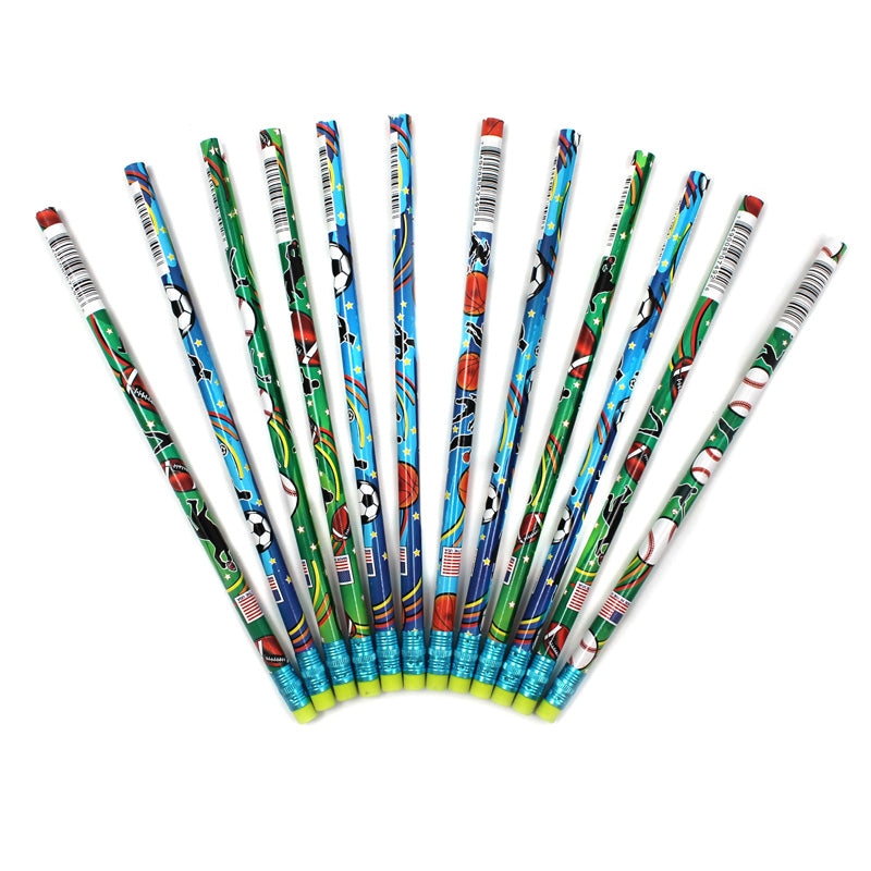 (12 Dz) Decorated Pencils Sports Asst 12 Per Pk - Item 4SS-JRM7492BBN