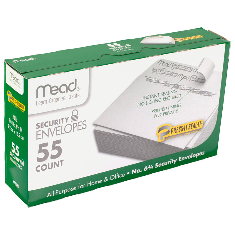 (12 Bx) Press It Seal It No6.75 Security Envelopes 55 Per Bx - Item 4SS-MEA75030BN