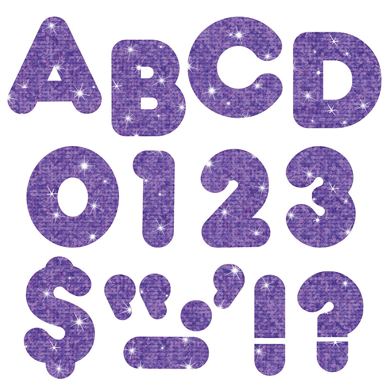 "Purple Sparkle 4"" Casual Uc Ready Letters , 6 Packs - Item 4SS-T-1618BN"