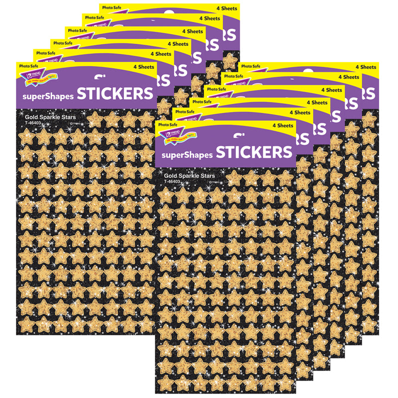 Gold Sparkle Stars Supershapes Stickers-Sparkle, 400 Per Pack, 12 Packs - Item 4SS-T-46403BN