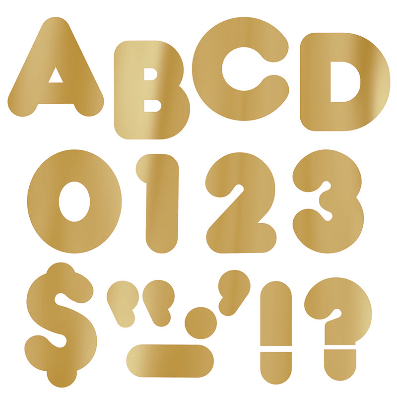 "Gold Metallic 2"" Casual Uppercase Ready Letters , 6 Packs - Item 4SS-T-493BN"
