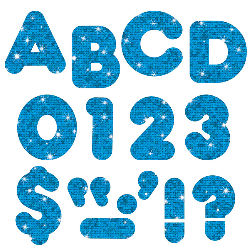 "Blue Sparkle 2"" Casual Uppercase Ready Letters , 6 Packs - Item 4SS-T-510BN"