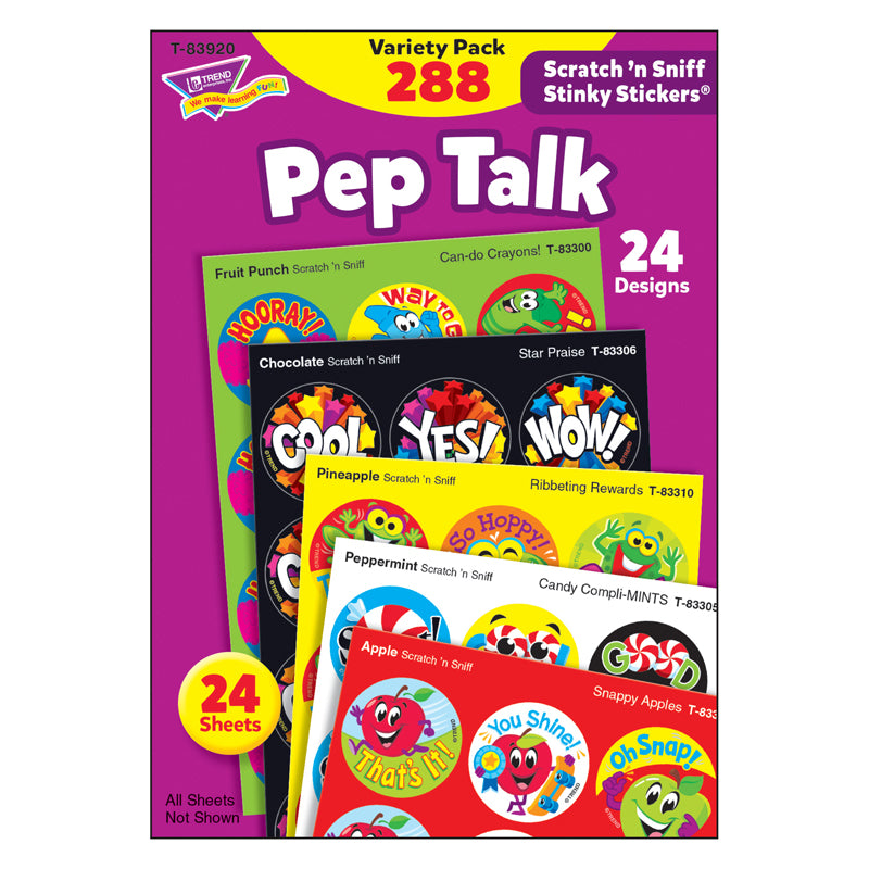 Pep Talk Stinky Stickers Variety Pack, 288 Count Per Pack, 2 Packs - Item 4SS-T-83920BN