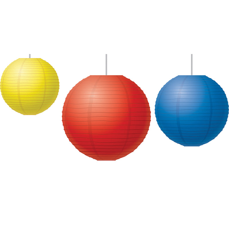 Red, Yellow & Blue Paper Lanterns, Pack Of 3 - Item 4SS-TCR77230