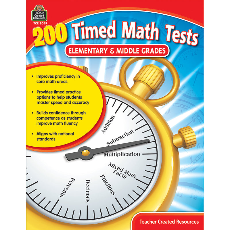 200 Timed Math Tests - Elementary & Middle Grades - Item 4SS-TCR8069