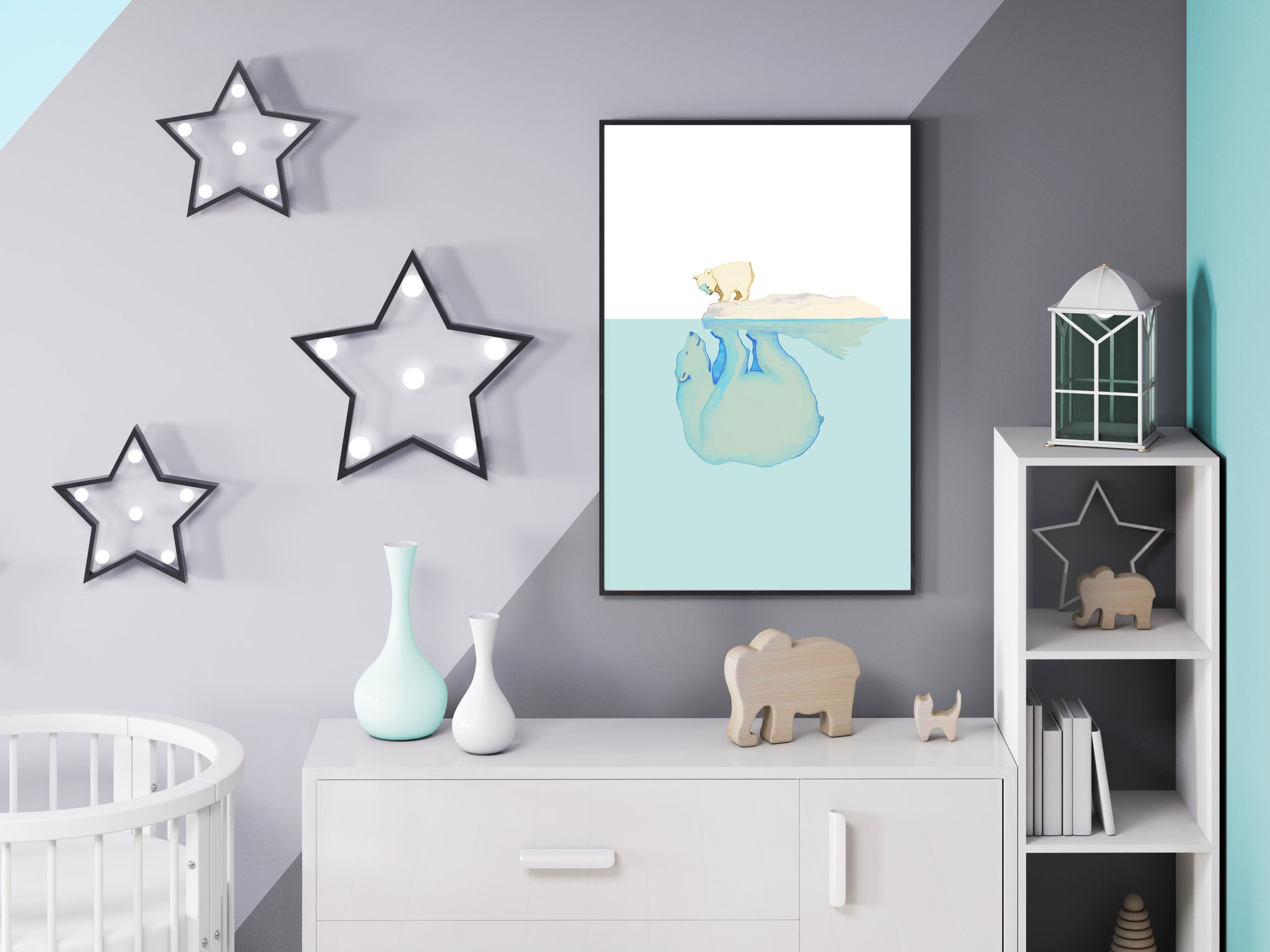 Polar Bears painted poster for kids' room interior decor by Kinos Design