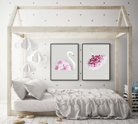 Kid's room interior decor with Dancing Ballerina and Swimming Swan painted posters by Kirsi Nordberg Kinos Design