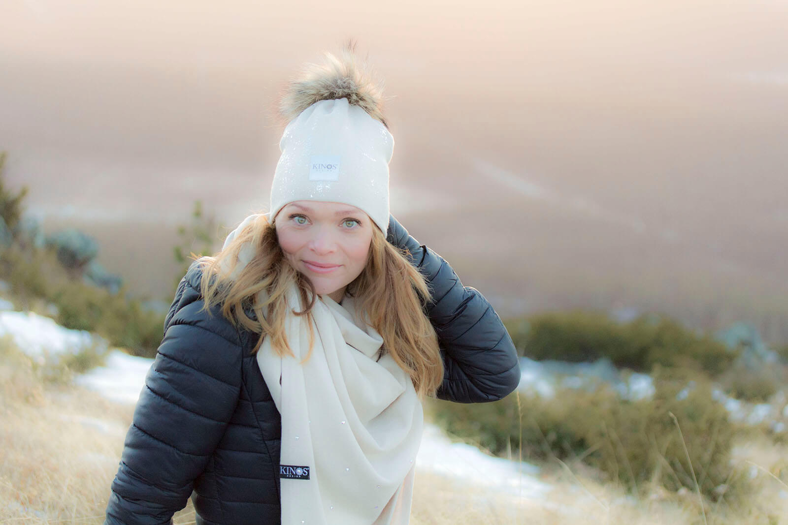 Super soft and warm creme beige nude Kinos Design merino wool Snow Glow beanie and Crystal scarf made in Finland.