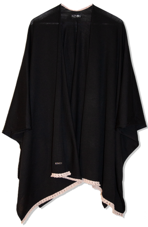 Black Merino Wool Halla Cape by Kinos Design made in Finland