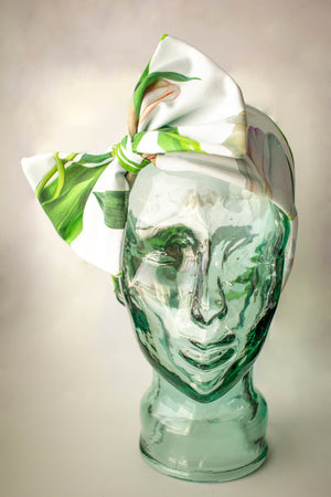 White/green tulip bow headband by Kinos Design made in Finland