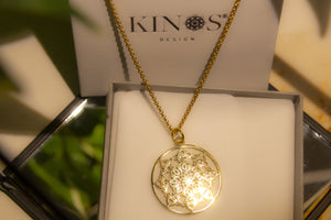 Mandala Sun stainless steel necklace by Kinos Design
