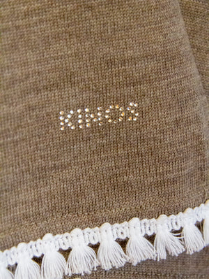 Brown Merino Wool Halla Cape with Swarovski crystal logo by Kinos Design made in Finland