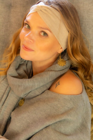 Nietos headband, wrist warmers and Ava sweater by Kinos Design