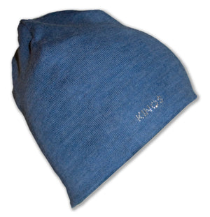 Denim blue merino wool Rovaniemi Beanie by Kinos Design made in Rovaniemi Finland