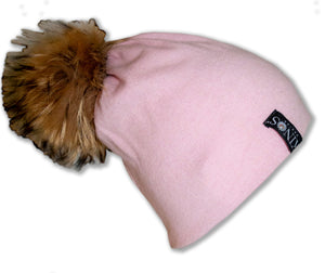 Frosty pink merino wool classic Kinos beanie with wild fur pompom and one Swarovski crystal made in Finland.