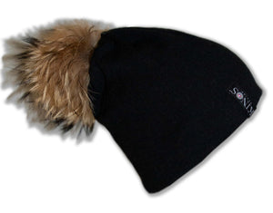 Charcoal black merino wool classic Kinos beanie with wild fur pompom and one Swarovski crystal made in Finland.
