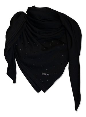 Merino wool Black Nova Scarf by Kinos Design made in Finland