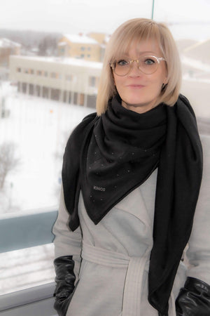 Black merino wool Nova Scarf with Swarovski crystals by Kinos Design made in Rovaniemi Finland