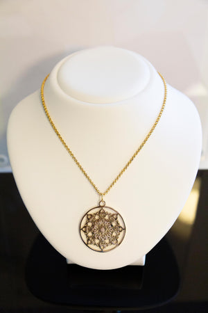 Gold Mandala Sun stainless steel necklace by Kinos Design
