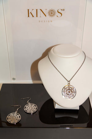 Stainless steel Mandala Sun necklace and earrings by Kinos Design