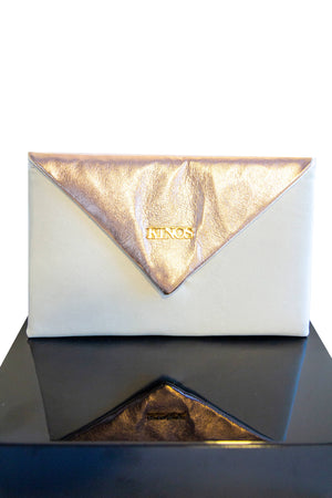 Snow white and rose gold reindeer leather Arctic Clutch by Kinos Design made in Rovaniemi Finland