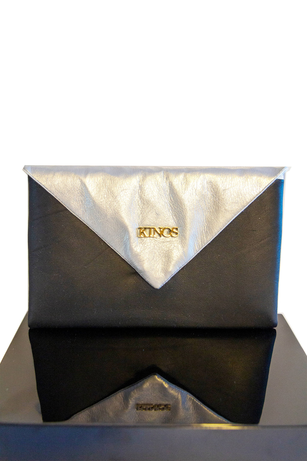 Black and silver reindeer leather Arctic Clutch by Kinos Design made in Rovaniemi Finland