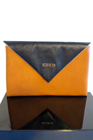 Cognac and black reindeer leather Arctic Clutch by Kinos Design made in Rovaniemi Finland