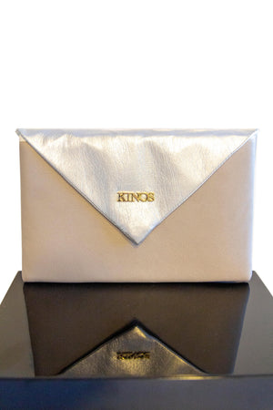 Grey and silver reindeer leather Arctic Clutch by Kinos Design made in Rovaniemi Finland