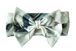 Grey tulip bow headband by Kinos Design made in Finland