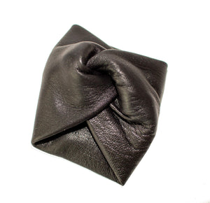 Black reindeer leather hairband accessory bow part center piece by Kinos Design made in Finland