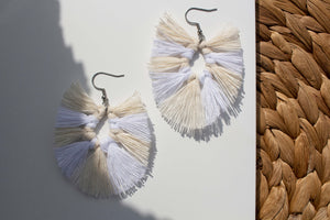 Pisara Macrame Earrings color Vanilla by Kinos Design made in Finland
