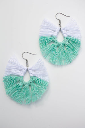 Pisara Macrame Earrings color Mint by Kinos Design made in Finland