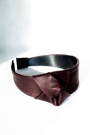 Wine red reindeer leather hairband by Kinos Design made in Finland
