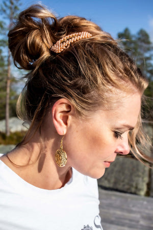 Mandala Sun Earrings Gold by Kinos Design made in Finland